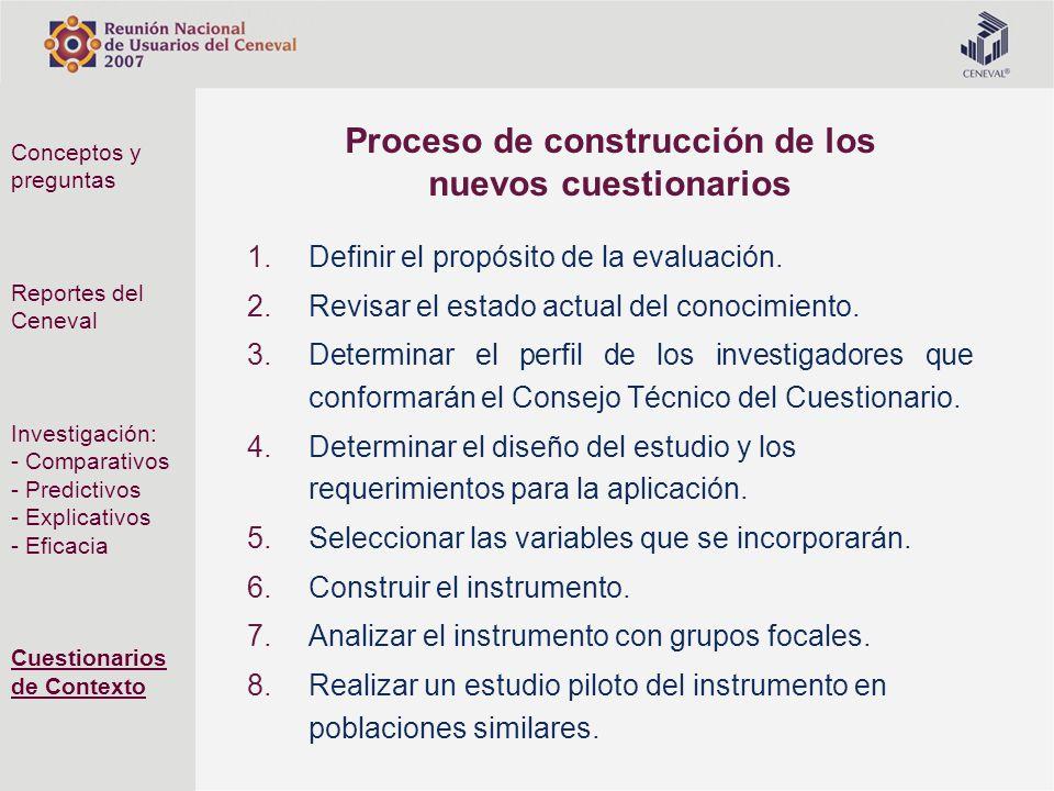 Proceso de construcción de los nuevos cuestionarios 1.Definir el propósito de la evaluación. 2.Revisar el estado actual del conocimiento. 3.Determinar