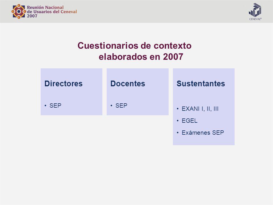 Sustentantes EXANI I, II, III EGEL Exámenes SEP Docentes SEP Directores SEP Cuestionarios de contexto elaborados en 2007