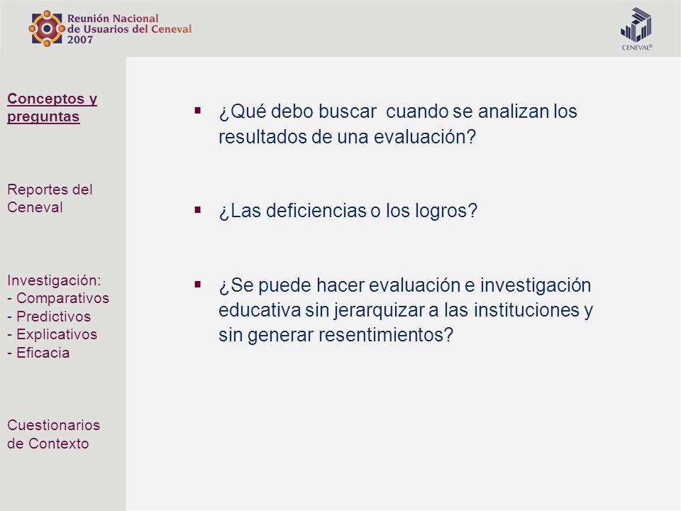 ¿Qué debo buscar cuando se analizan los resultados de una evaluación? ¿Las deficiencias o los logros? ¿Se puede hacer evaluación e investigación educa