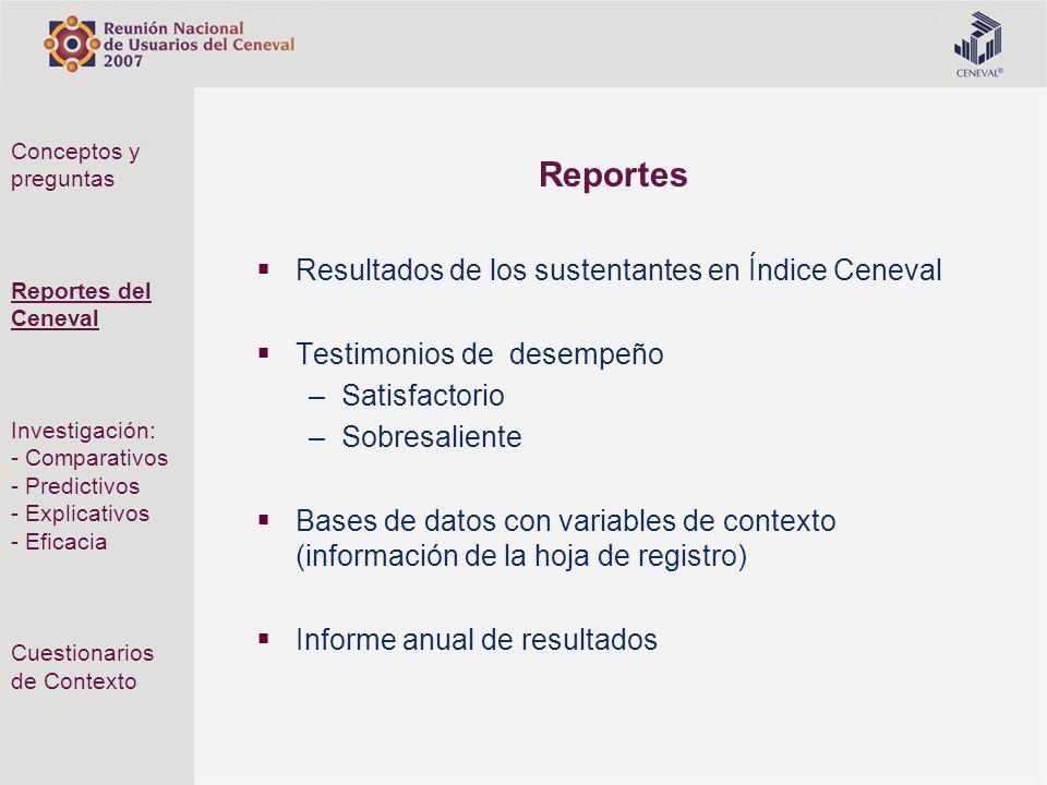 Reportes Resultados de los sustentantes en Índice Ceneval Testimonios de desempeño –Satisfactorio –Sobresaliente Bases de datos con variables de conte