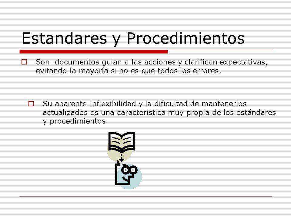 Categorías Estándares de métodos: Como guías, los estándares son utilizados para establecer prácticas uniformes y técnicas comunes · Estándares de desempeño: Como normas, los estándares son utilizados para medir el desempeño de la función del procesamiento de datos.