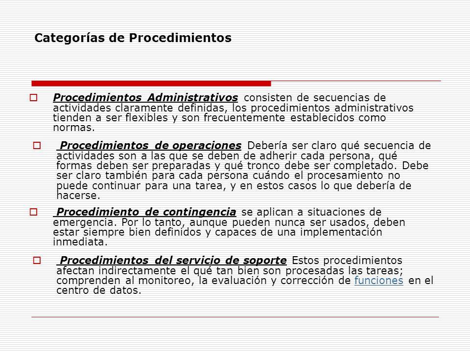 Categorías de Procedimientos Procedimientos Administrativos consisten de secuencias de actividades claramente definidas, los procedimientos administra