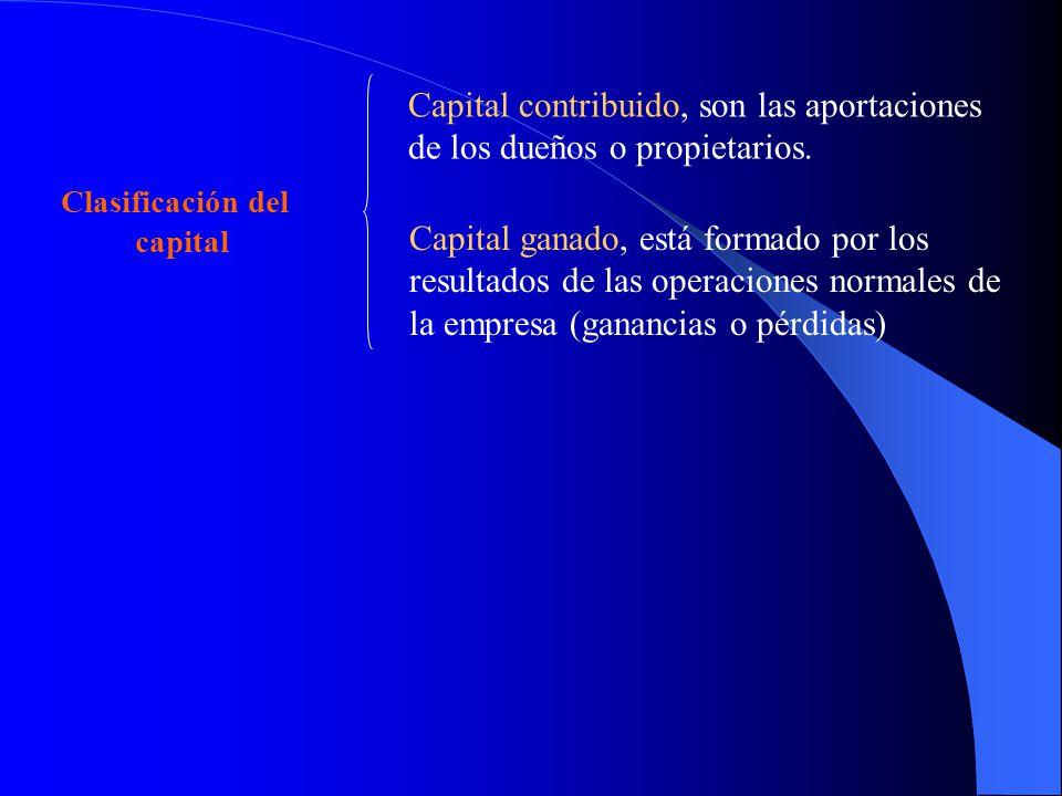 Clasificación del capital Capital contribuido, son las aportaciones de los dueños o propietarios. Capital ganado, está formado por los resultados de l