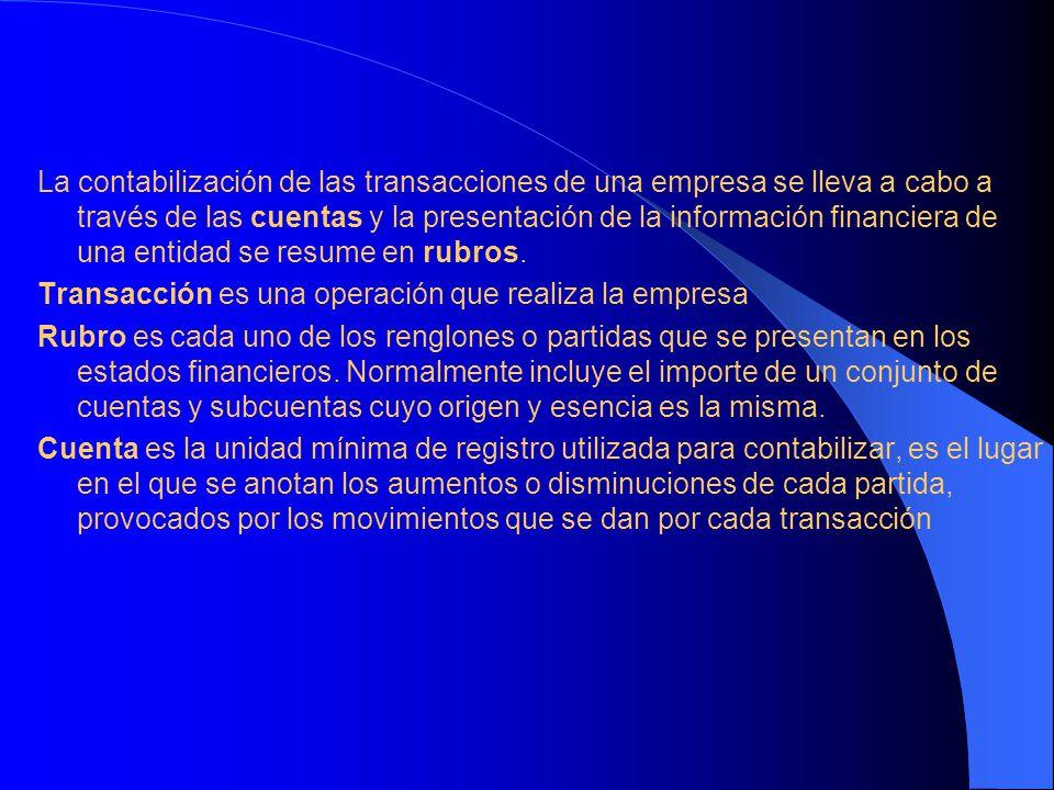 La contabilización de las transacciones de una empresa se lleva a cabo a través de las cuentas y la presentación de la información financiera de una e