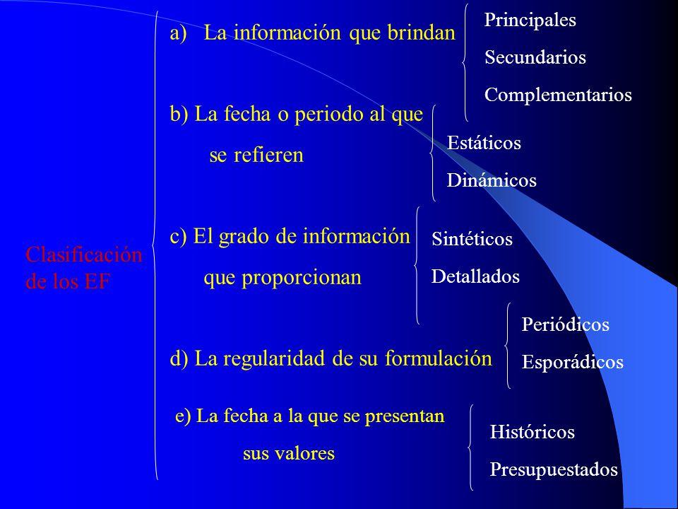 Clasificación de los EF a)La información que brindan b) La fecha o periodo al que se refieren c) El grado de información que proporcionan d) La regula