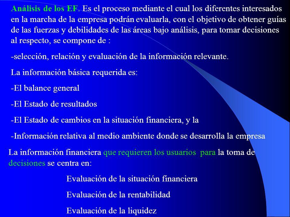 Análisis de los EF. Es el proceso mediante el cual los diferentes interesados en la marcha de la empresa podrán evaluarla, con el objetivo de obtener