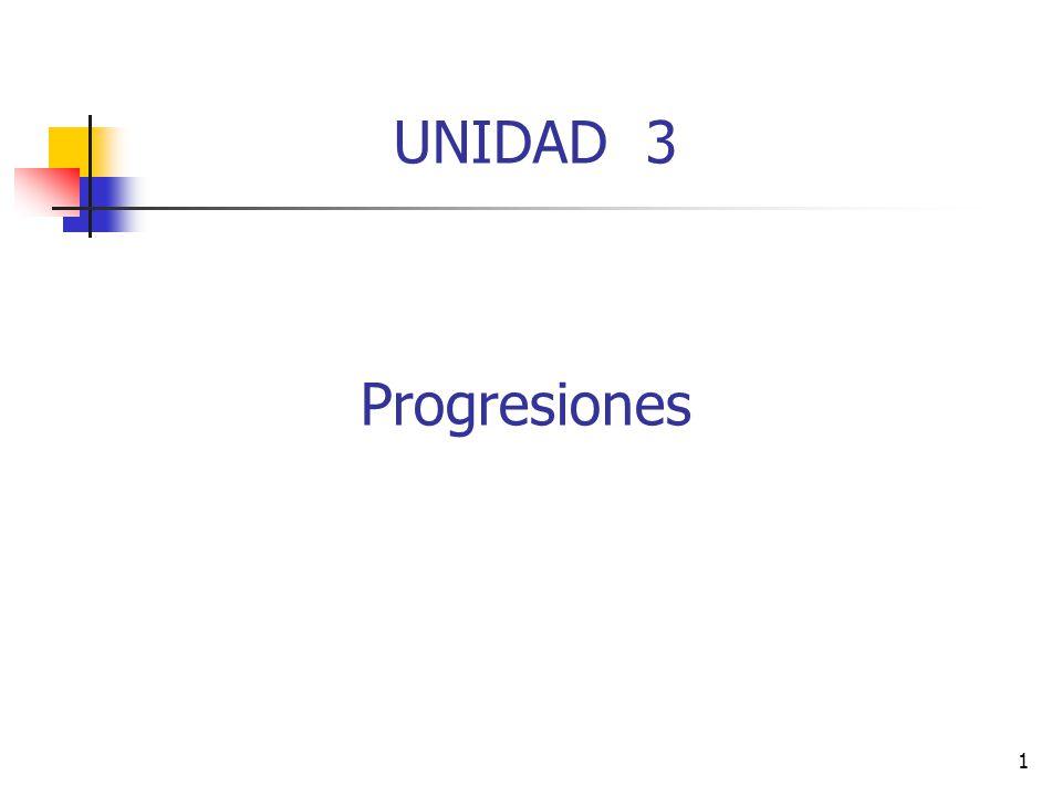 2 Progresiones También conocida como una sucesión es un conjunto infinito de números ordenados que tienen un comportamiento común entre si.