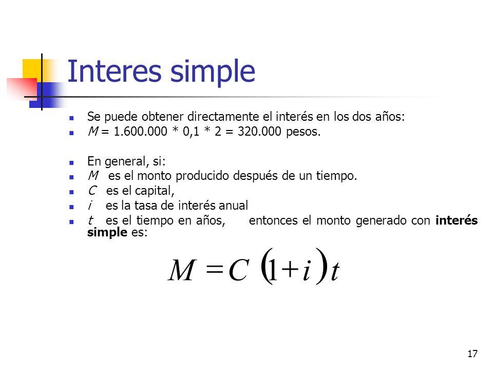 17 Interes simple Se puede obtener directamente el interés en los dos años: M = 1.600.000 * 0,1 * 2 = 320.000 pesos.