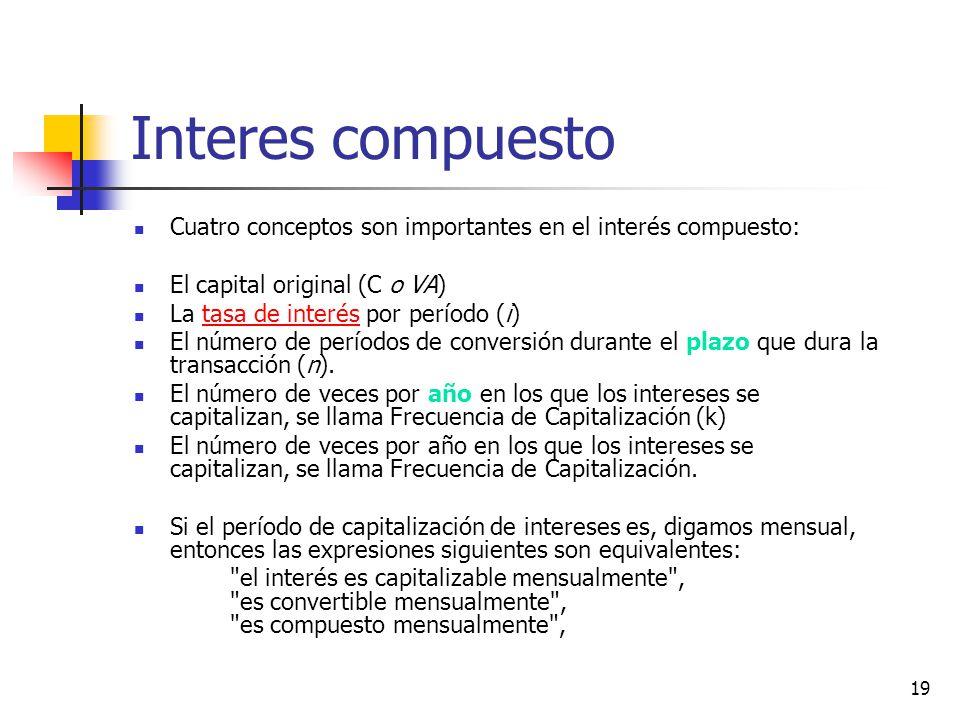 19 Interes compuesto Cuatro conceptos son importantes en el interés compuesto: El capital original (C o VA) La tasa de interés por período (i)tasa de interés El número de períodos de conversión durante el plazo que dura la transacción (n).