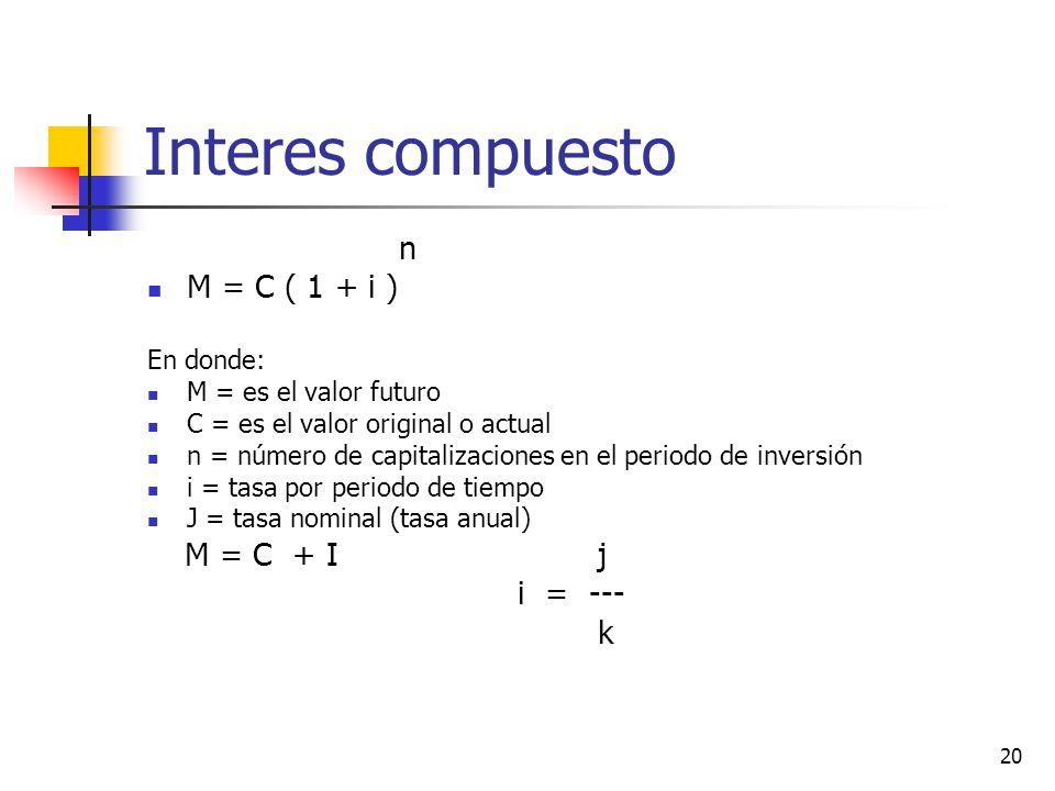 20 Interes compuesto n M = C ( 1 + i ) En donde: M = es el valor futuro C = es el valor original o actual n = número de capitalizaciones en el periodo de inversión i = tasa por periodo de tiempo J = tasa nominal (tasa anual) M = C + I j i = --- k
