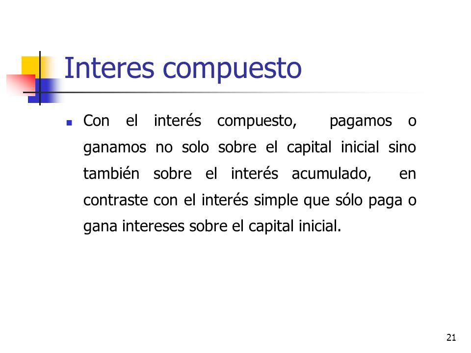 21 Interes compuesto Con el interés compuesto, pagamos o ganamos no solo sobre el capital inicial sino también sobre el interés acumulado, en contraste con el interés simple que sólo paga o gana intereses sobre el capital inicial.