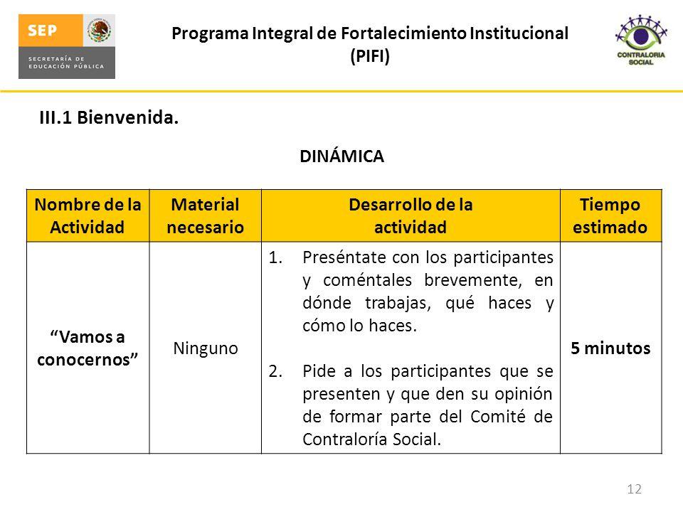 III.1 Bienvenida. Programa Integral de Fortalecimiento Institucional (PIFI) 12 DINÁMICA Nombre de la Actividad Material necesario Desarrollo de la act