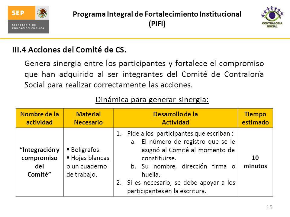 III.4 Acciones del Comité de CS. Programa Integral de Fortalecimiento Institucional (PIFI) 15 Genera sinergia entre los participantes y fortalece el c
