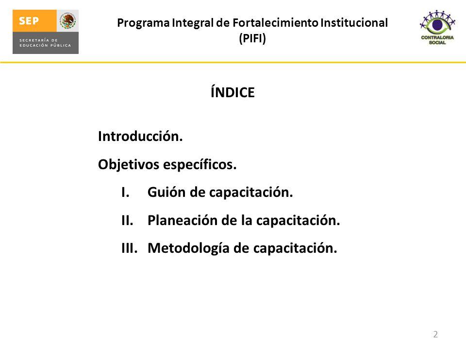 ÍNDICE Introducción. Objetivos específicos. I.Guión de capacitación. II.Planeación de la capacitación. III.Metodología de capacitación. Programa Integ