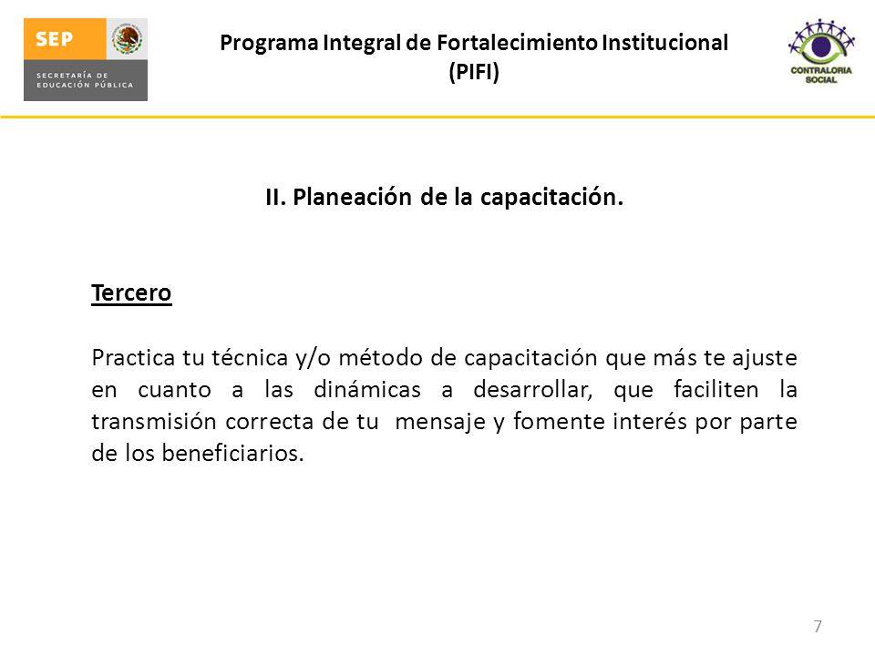 II.Planeación de la capacitación.