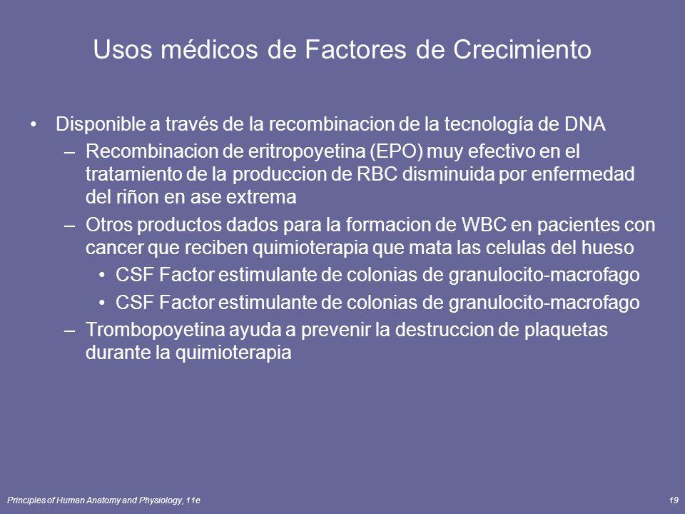 Principles of Human Anatomy and Physiology, 11e19 Usos médicos de Factores de Crecimiento Disponible a través de la recombinacion de la tecnología de