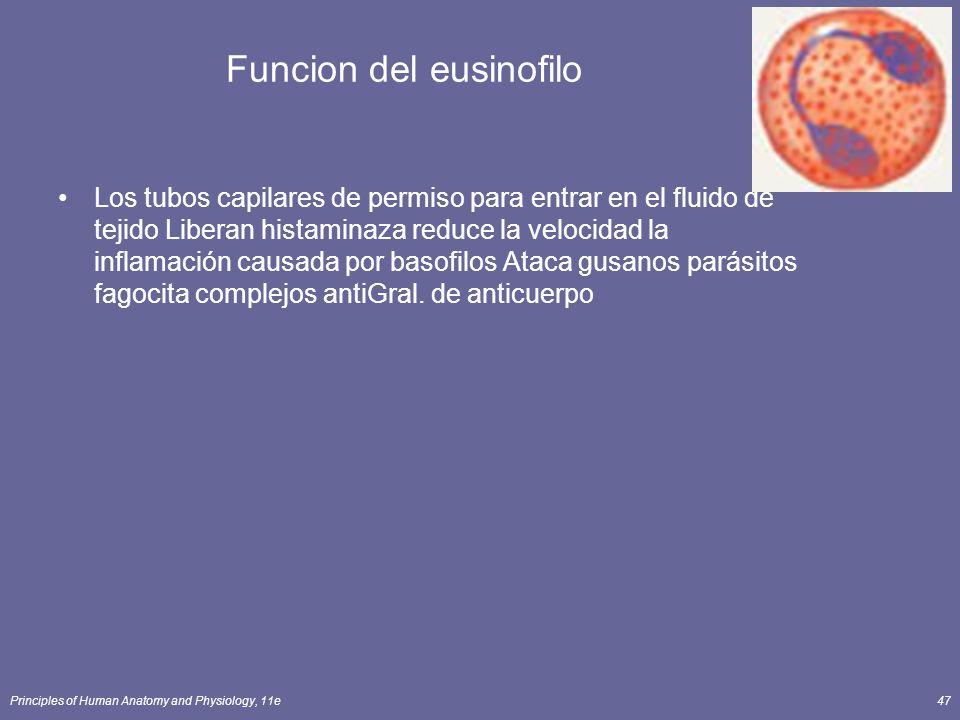 Principles of Human Anatomy and Physiology, 11e47 Funcion del eusinofilo Los tubos capilares de permiso para entrar en el fluido de tejido Liberan his