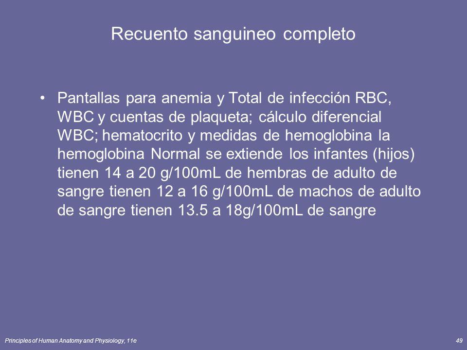 Principles of Human Anatomy and Physiology, 11e49 Recuento sanguineo completo Pantallas para anemia y Total de infección RBC, WBC y cuentas de plaquet