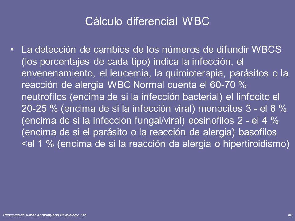 Principles of Human Anatomy and Physiology, 11e50 Cálculo diferencial WBC La detección de cambios de los números de difundir WBCS (los porcentajes de