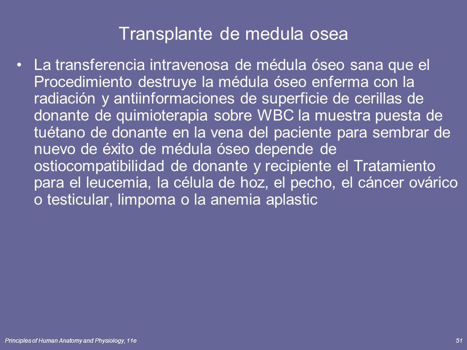Principles of Human Anatomy and Physiology, 11e51 Transplante de medula osea La transferencia intravenosa de médula óseo sana que el Procedimiento des