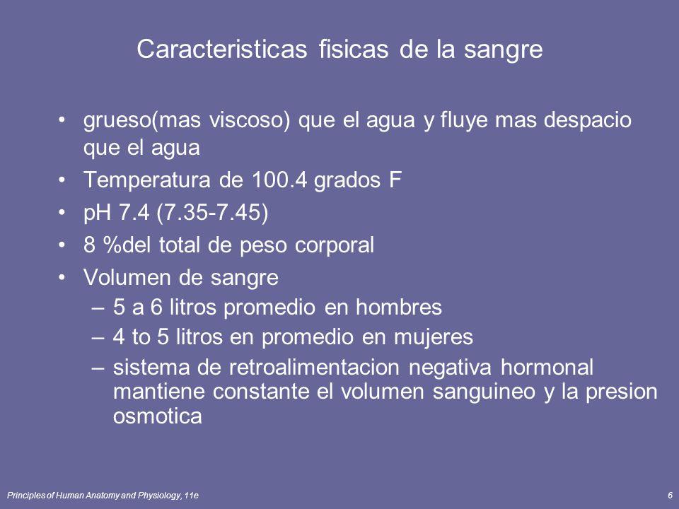 Principles of Human Anatomy and Physiology, 11e6 Caracteristicas fisicas de la sangre grueso(mas viscoso) que el agua y fluye mas despacio que el agua
