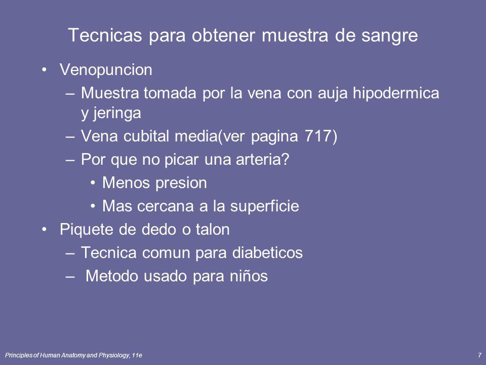 Principles of Human Anatomy and Physiology, 11e7 Tecnicas para obtener muestra de sangre Venopuncion –Muestra tomada por la vena con auja hipodermica