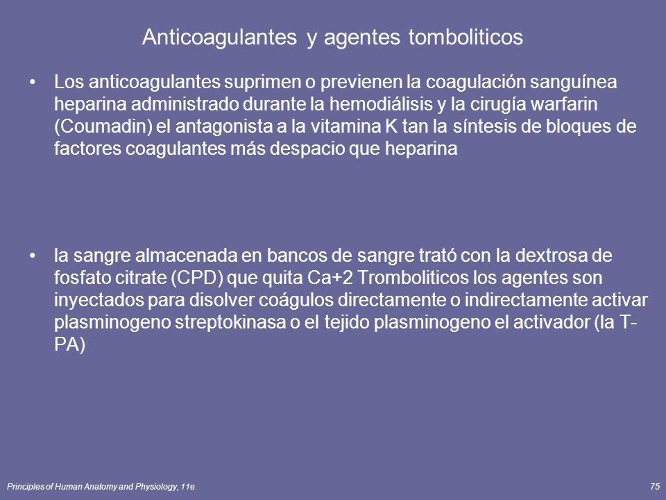 Principles of Human Anatomy and Physiology, 11e75 Anticoagulantes y agentes tomboliticos Los anticoagulantes suprimen o previenen la coagulación sangu