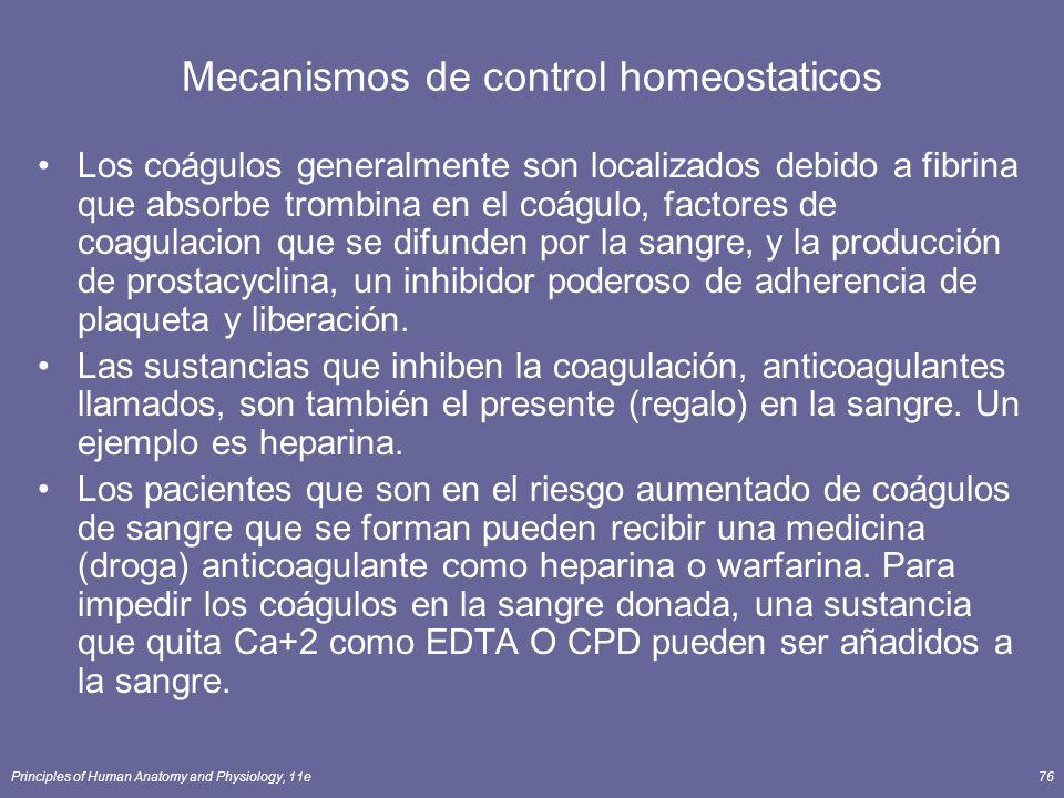 Principles of Human Anatomy and Physiology, 11e76 Mecanismos de control homeostaticos Los coágulos generalmente son localizados debido a fibrina que a