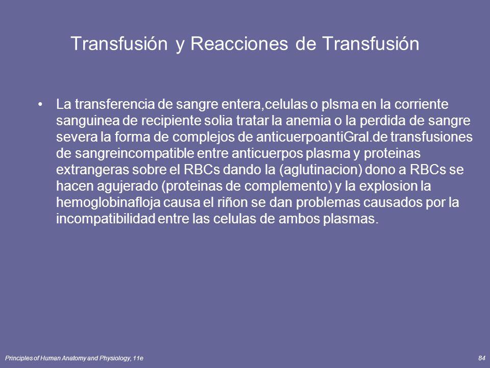 Principles of Human Anatomy and Physiology, 11e84 Transfusión y Reacciones de Transfusión La transferencia de sangre entera,celulas o plsma en la corr