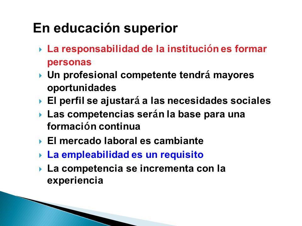 La responsabilidad de la instituci ó n es formar personas Un profesional competente tendr á mayores oportunidades El perfil se ajustar á a las necesid