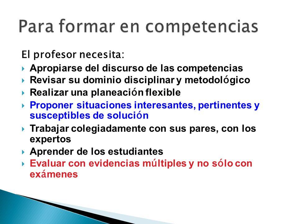 El profesor necesita: Apropiarse del discurso de las competencias Revisar su dominio disciplinar y metodol ó gico Realizar una planeaci ó n flexible P