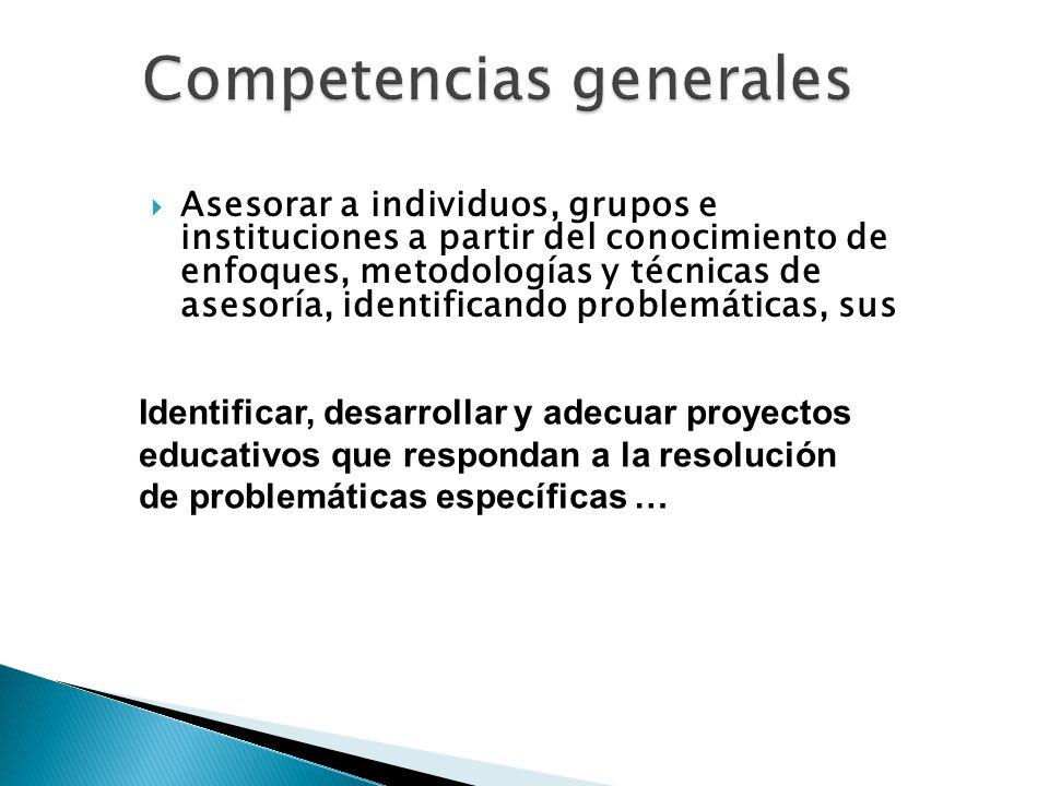 Asesorar a individuos, grupos e instituciones a partir del conocimiento de enfoques, metodologías y técnicas de asesoría, identificando problemáticas,