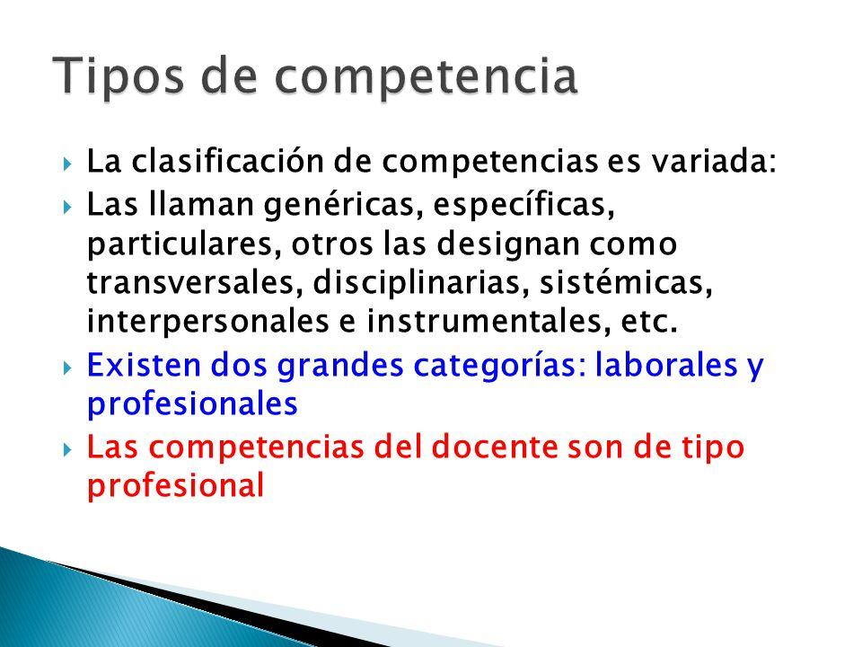 La clasificación de competencias es variada: Las llaman genéricas, específicas, particulares, otros las designan como transversales, disciplinarias, s