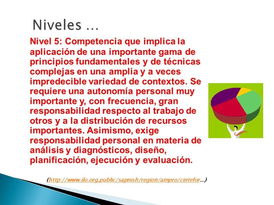 Nivel 5: Competencia que implica la aplicación de una importante gama de principios fundamentales y de técnicas complejas en una amplia y a veces impr