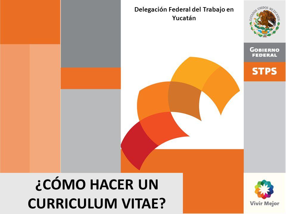 ¿CÓMO HACER UN CURRICULUM VITAE? Delegación Federal del Trabajo en Yucatán