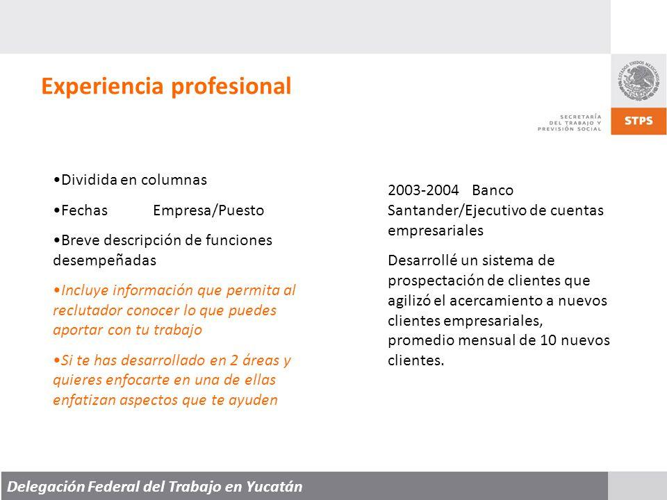 Delegación Federal del Trabajo en Yucatán Experiencia profesional Dividida en columnas FechasEmpresa/Puesto Breve descripción de funciones desempeñadas Incluye información que permita al reclutador conocer lo que puedes aportar con tu trabajo Si te has desarrollado en 2 áreas y quieres enfocarte en una de ellas enfatizan aspectos que te ayuden 2003-2004 Banco Santander/Ejecutivo de cuentas empresariales Desarrollé un sistema de prospectación de clientes que agilizó el acercamiento a nuevos clientes empresariales, promedio mensual de 10 nuevos clientes.