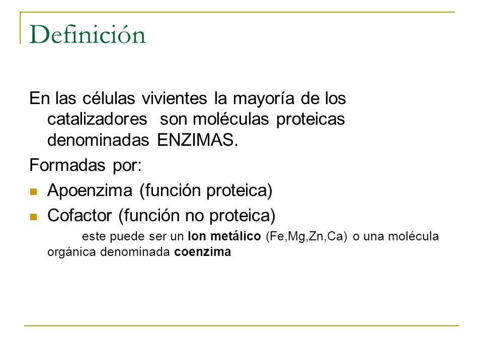 Definición En las células vivientes la mayoría de los catalizadores son moléculas proteicas denominadas ENZIMAS. Formadas por: Apoenzima (función prot