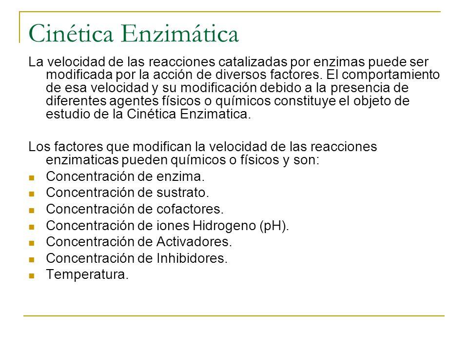 Cinética Enzimática La velocidad de las reacciones catalizadas por enzimas puede ser modificada por la acción de diversos factores. El comportamiento