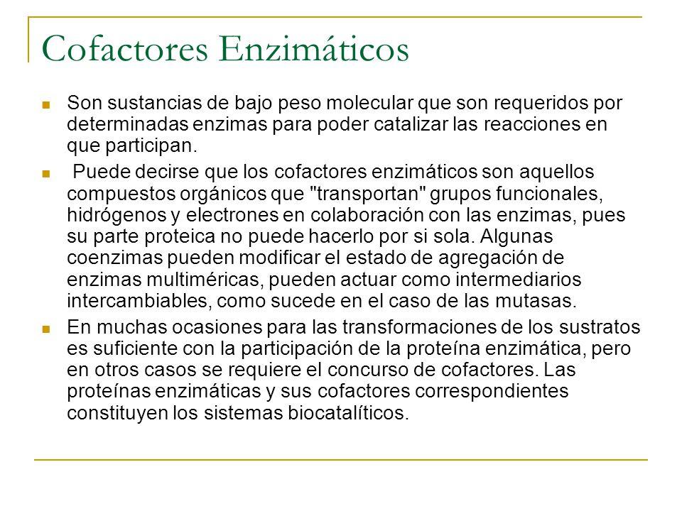 Cofactores Enzimáticos Son sustancias de bajo peso molecular que son requeridos por determinadas enzimas para poder catalizar las reacciones en que pa