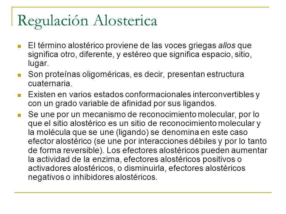 Regulación Alosterica El término alostérico proviene de las voces griegas allos que significa otro, diferente, y estéreo que significa espacio, sitio,