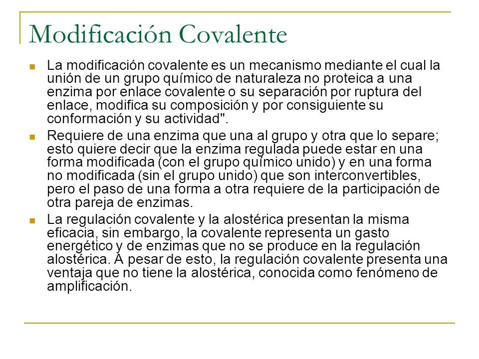 Modificación Covalente La modificación covalente es un mecanismo mediante el cual la unión de un grupo químico de naturaleza no proteica a una enzima