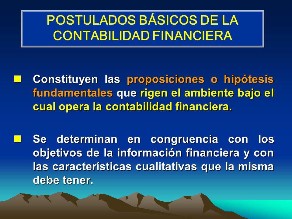 Constituyen las proposiciones o hipótesis fundamentales que rigen el ambiente bajo el cual opera la contabilidad financiera. Constituyen las proposici