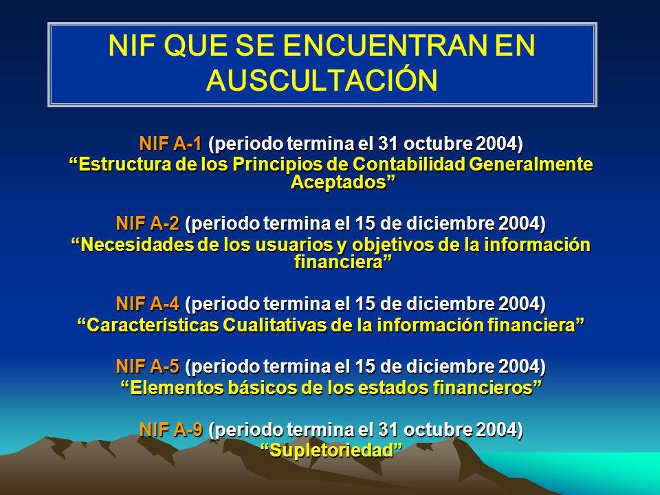 NIF A-1 (periodo termina el 31 octubre 2004) Estructura de los Principios de Contabilidad Generalmente Aceptados NIF A-2 (periodo termina el 15 de dic