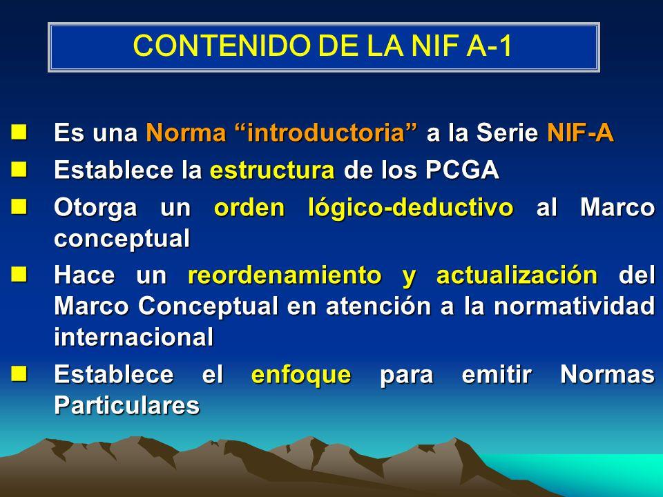 Es una Norma introductoria a la Serie NIF-A Es una Norma introductoria a la Serie NIF-A Establece la estructura de los PCGA Establece la estructura de