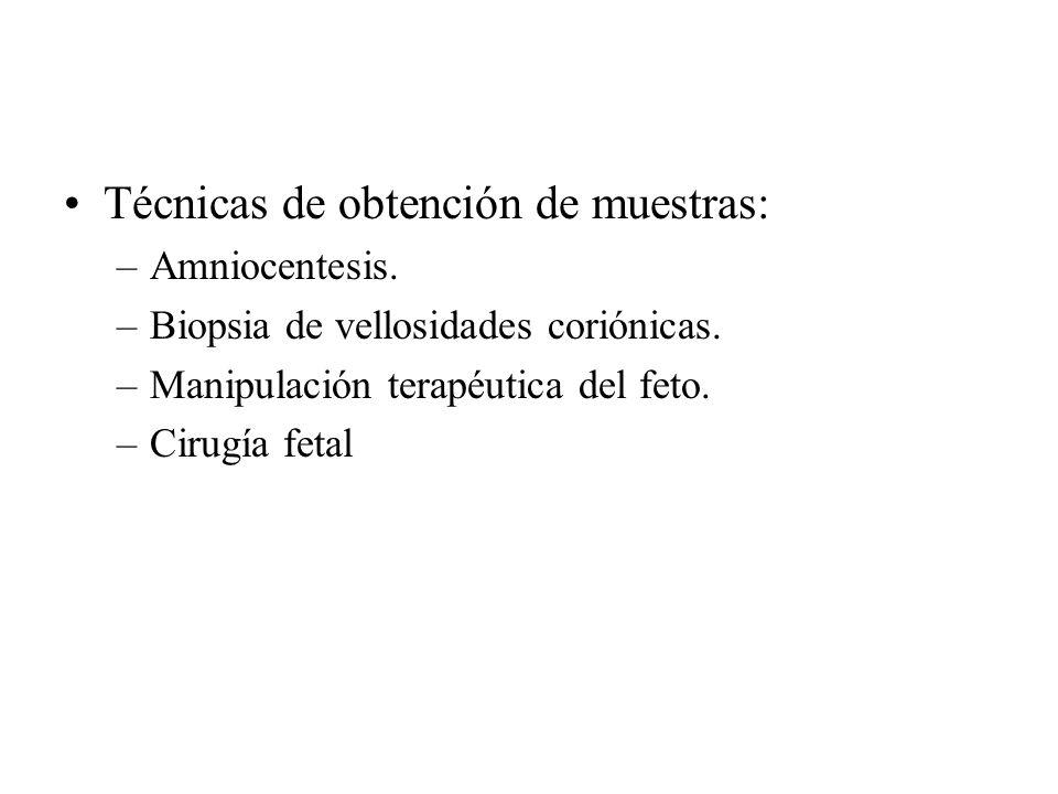 Técnicas de obtención de muestras: –Amniocentesis. –Biopsia de vellosidades coriónicas. –Manipulación terapéutica del feto. –Cirugía fetal