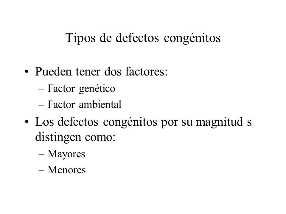 Tipos de defectos congénitos Pueden tener dos factores: –Factor genético –Factor ambiental Los defectos congénitos por su magnitud s distingen como: –