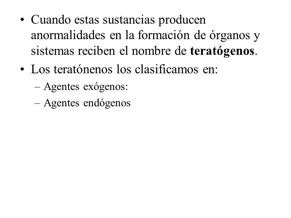 Cuando estas sustancias producen anormalidades en la formación de órganos y sistemas reciben el nombre de teratógenos. Los teratónenos los clasificamo