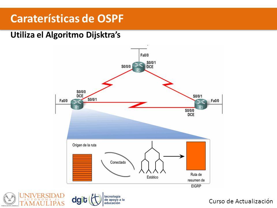 Caraterísticas de OSPF Curso de Actualización Utiliza el Algoritmo Dijsktras