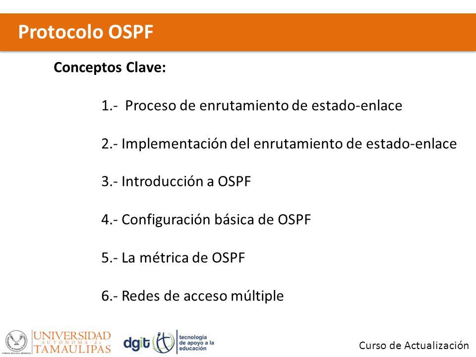 Protocolo OSPF Curso de Actualización Conceptos Clave: 1.- Proceso de enrutamiento de estado-enlace 2.- Implementación del enrutamiento de estado-enlace 3.- Introducción a OSPF 4.- Configuración básica de OSPF 5.- La métrica de OSPF 6.- Redes de acceso múltiple