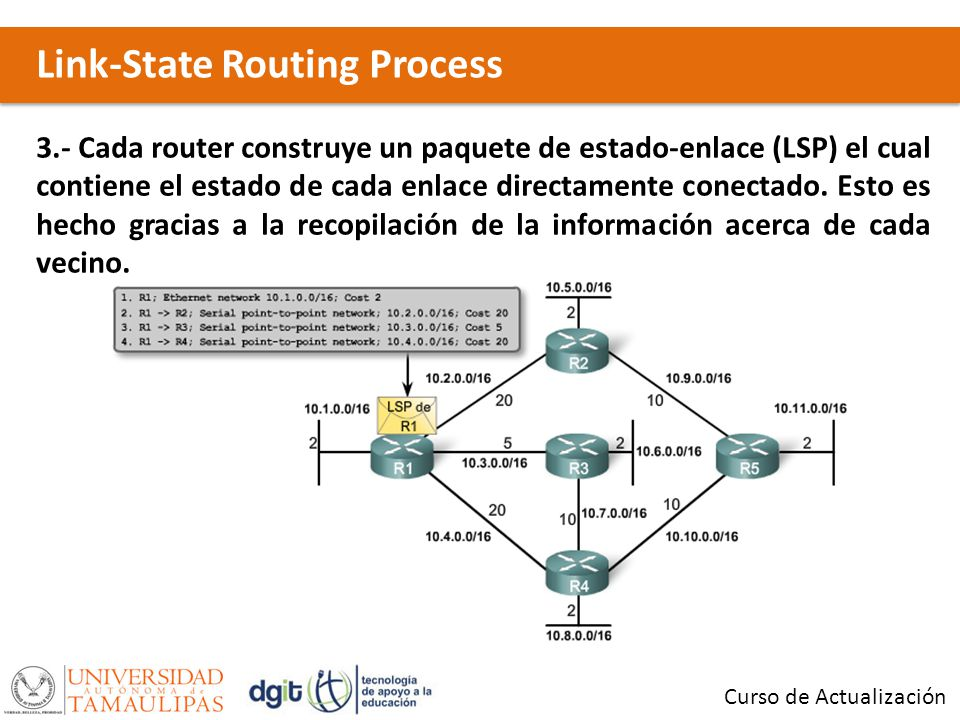 Link-State Routing Process Curso de Actualización 3.- Cada router construye un paquete de estado-enlace (LSP) el cual contiene el estado de cada enlace directamente conectado.